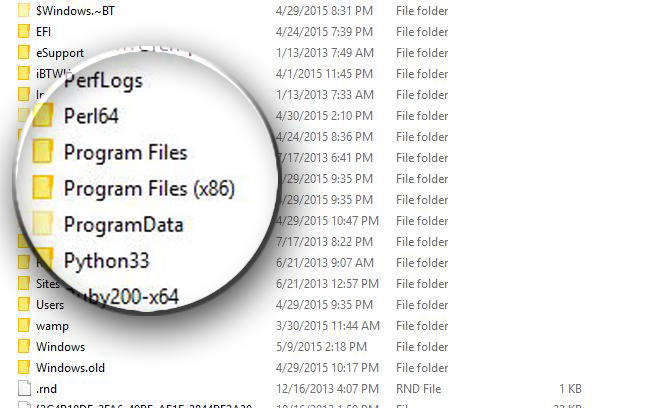 how to find program files on windows 10